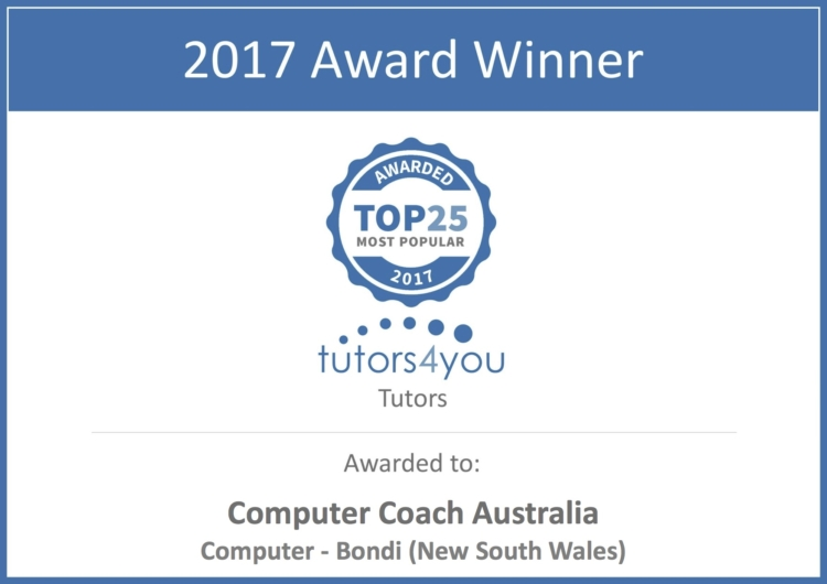 Computer Coach Australia best tutor award Sydney