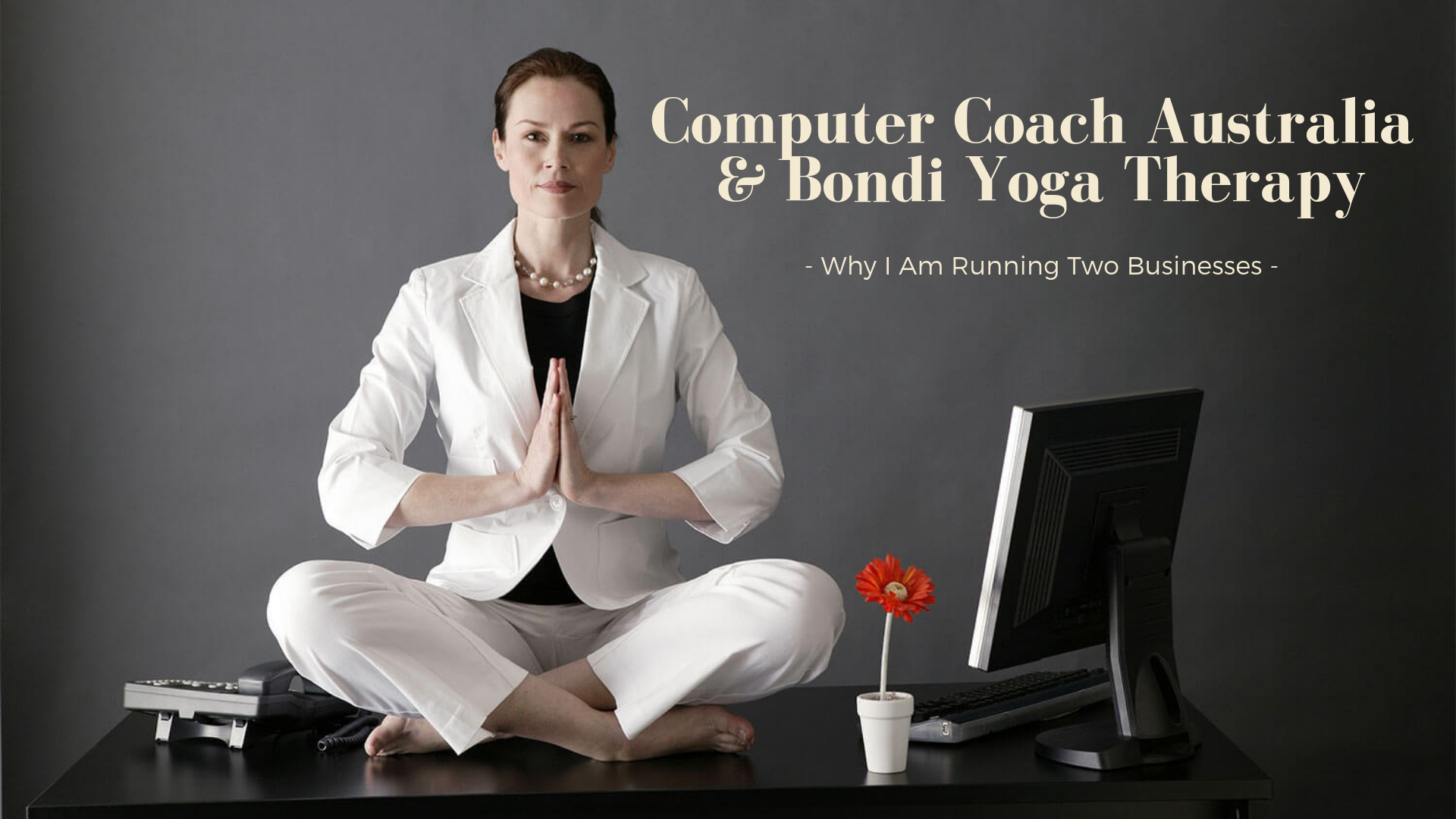 woman sitting on her desk beside a computer and doing yoga